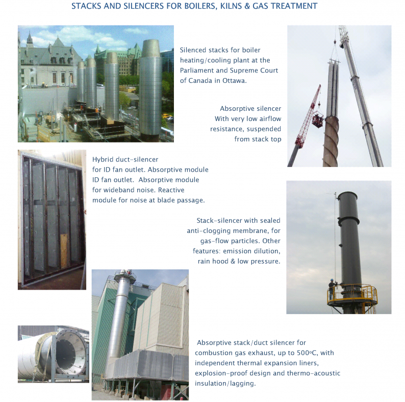 C brochure page 1 showing stacks and silencer applications